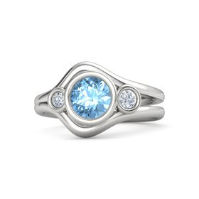 Round Blue Topaz Sterling Silver Ring with Diamond