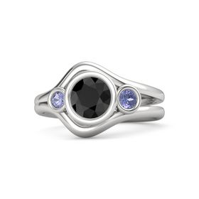Round Black Diamond Sterling Silver Ring with Tanzanite