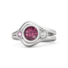 Round Rhodolite Garnet Sterling Silver Ring with White Sapphire and Pink Sapphire