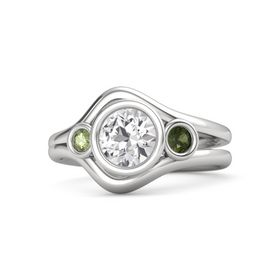 Round White Sapphire Sterling Silver Ring with Green Tourmaline and Peridot
