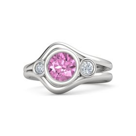 Round Pink Sapphire Sterling Silver Ring with Diamond