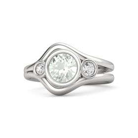 Round Green Amethyst Sterling Silver Ring with White Sapphire