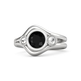 Round Black Onyx Sterling Silver Ring with Rock Crystal