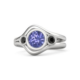 Round Tanzanite Sterling Silver Ring with Black Diamond