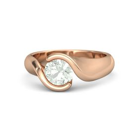 Round Green Amethyst 14K Rose Gold Ring