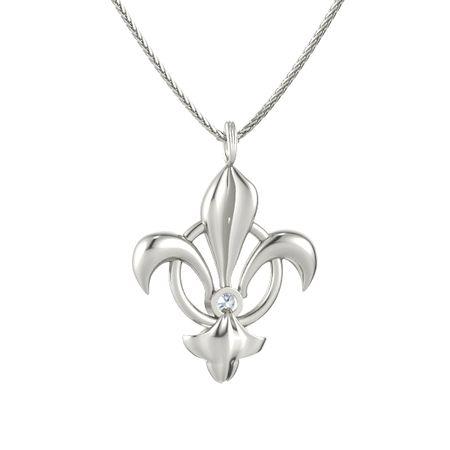 14k white gold necklace with diamond fleur de lis pendant gemvara fleur de lis pendant aloadofball Choice Image