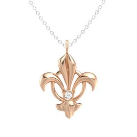 14K Rose Gold Necklace with Rock Crystal