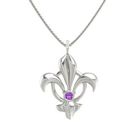 14K White Gold Necklace with Amethyst