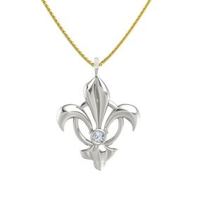 14K White Gold Necklace with Diamond