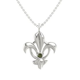 14K White Gold Pendant with Green Tourmaline
