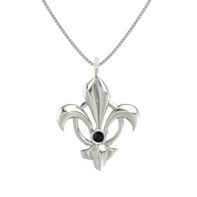 14K White Gold Necklace with Black Onyx