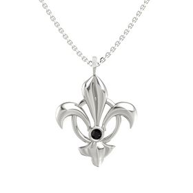 14K White Gold Pendant with Black Onyx