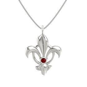 14K White Gold Pendant with Ruby