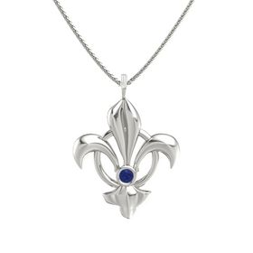 14K White Gold Necklace with Sapphire