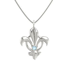 14K White Gold Necklace with Blue Topaz