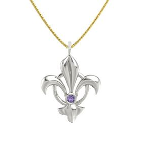 14K White Gold Necklace with Iolite