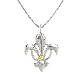 14K White Gold Pendant with Yellow Sapphire