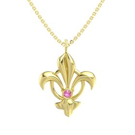 14K Yellow Gold Pendant with Pink Tourmaline
