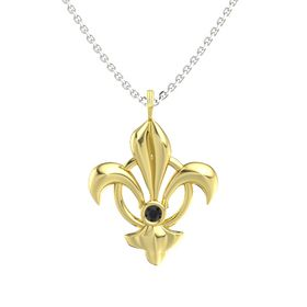 18K Yellow Gold Pendant with Black Diamond
