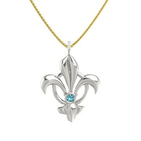 Platinum Pendant with London Blue Topaz