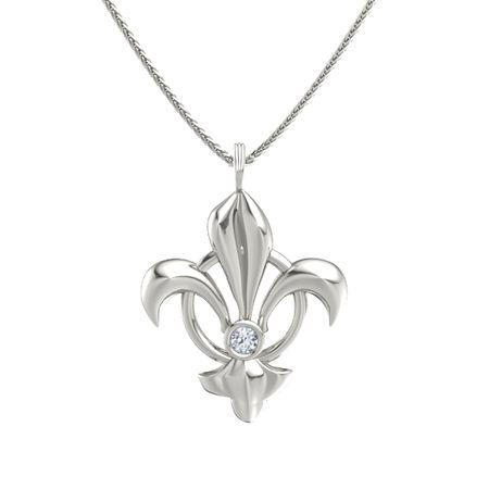14k white gold necklace with diamond fleur de lis pendant gemvara fleur de lis pendant aloadofball Gallery