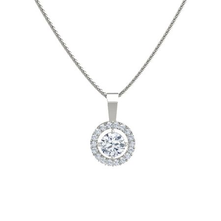 Round diamond 14k white gold pendant with diamond halo pendant halo pendant aloadofball Gallery