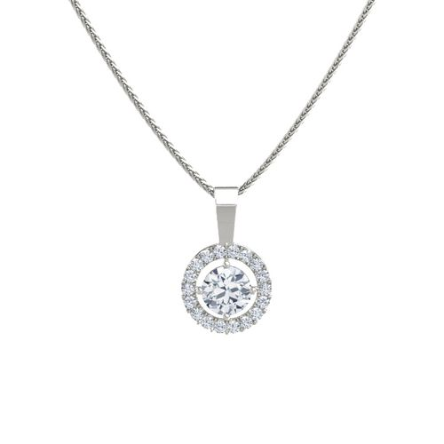 Round diamond 14k white gold pendant with diamond halo pendant round diamond 14k white gold pendant with diamond halo pendant gemvara mozeypictures Images
