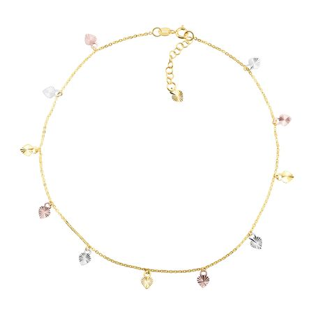 Heart Charm Three-Tone Anklet