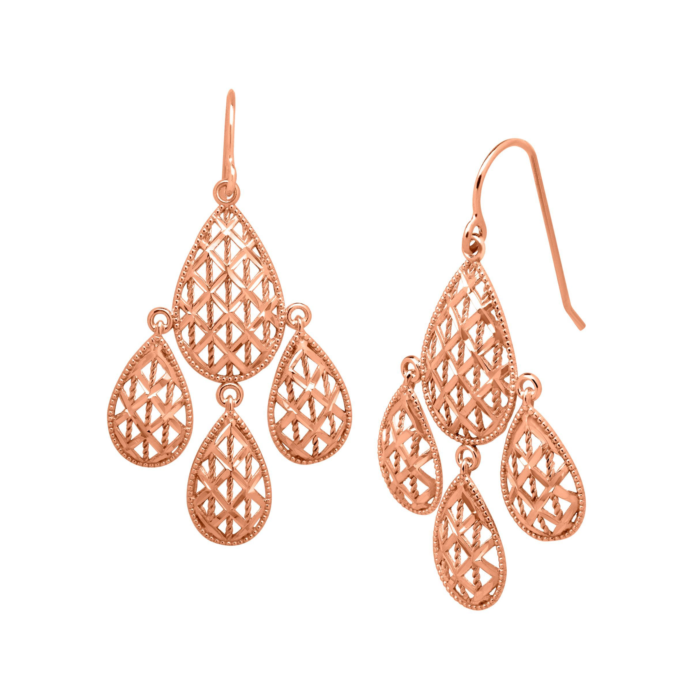 Just Gold Chandelier Mesh Earrings in 10K Rose Gold