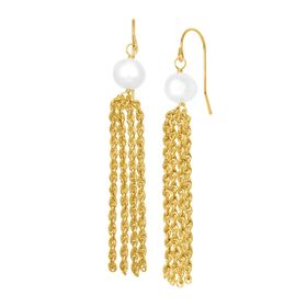 7-8 mm Pearl Twisted Tassel Drop Earrings