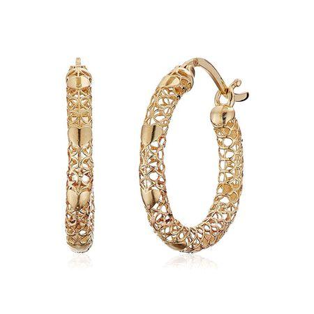 e49fe96488f3c Eternity Gold Mesh & Heart Hoop Earrings in 10K Gold