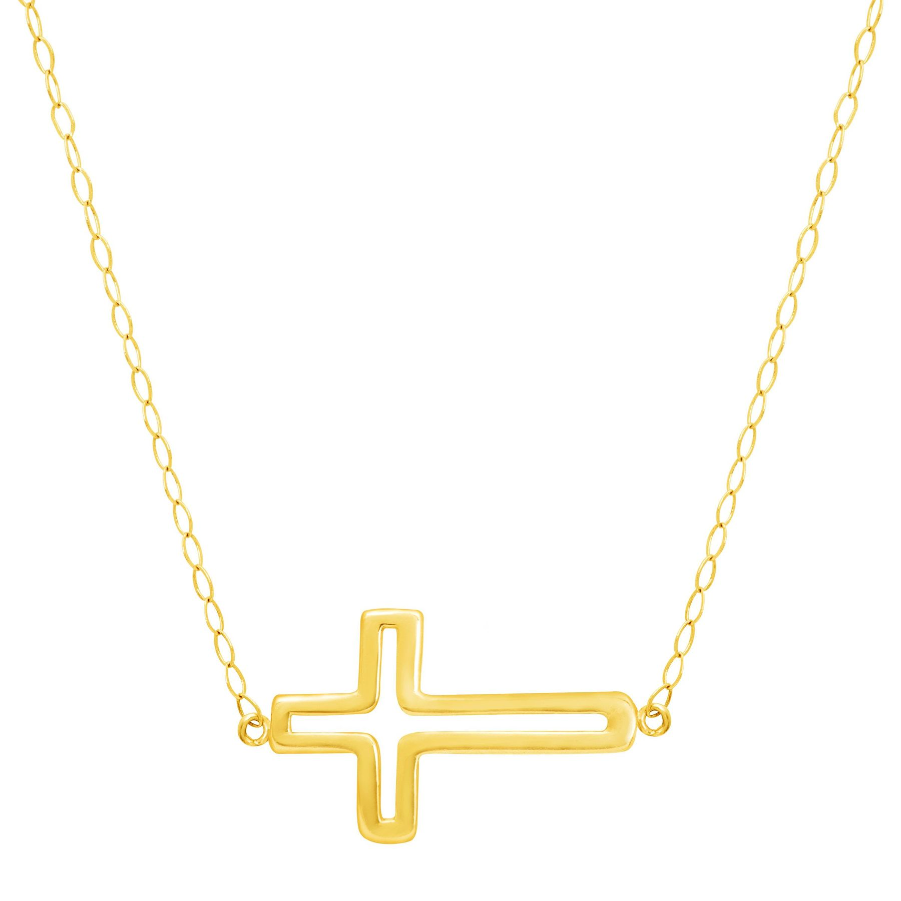 Eternity Gold Silhouette Cross Necklace In 10k Gold Silhouette