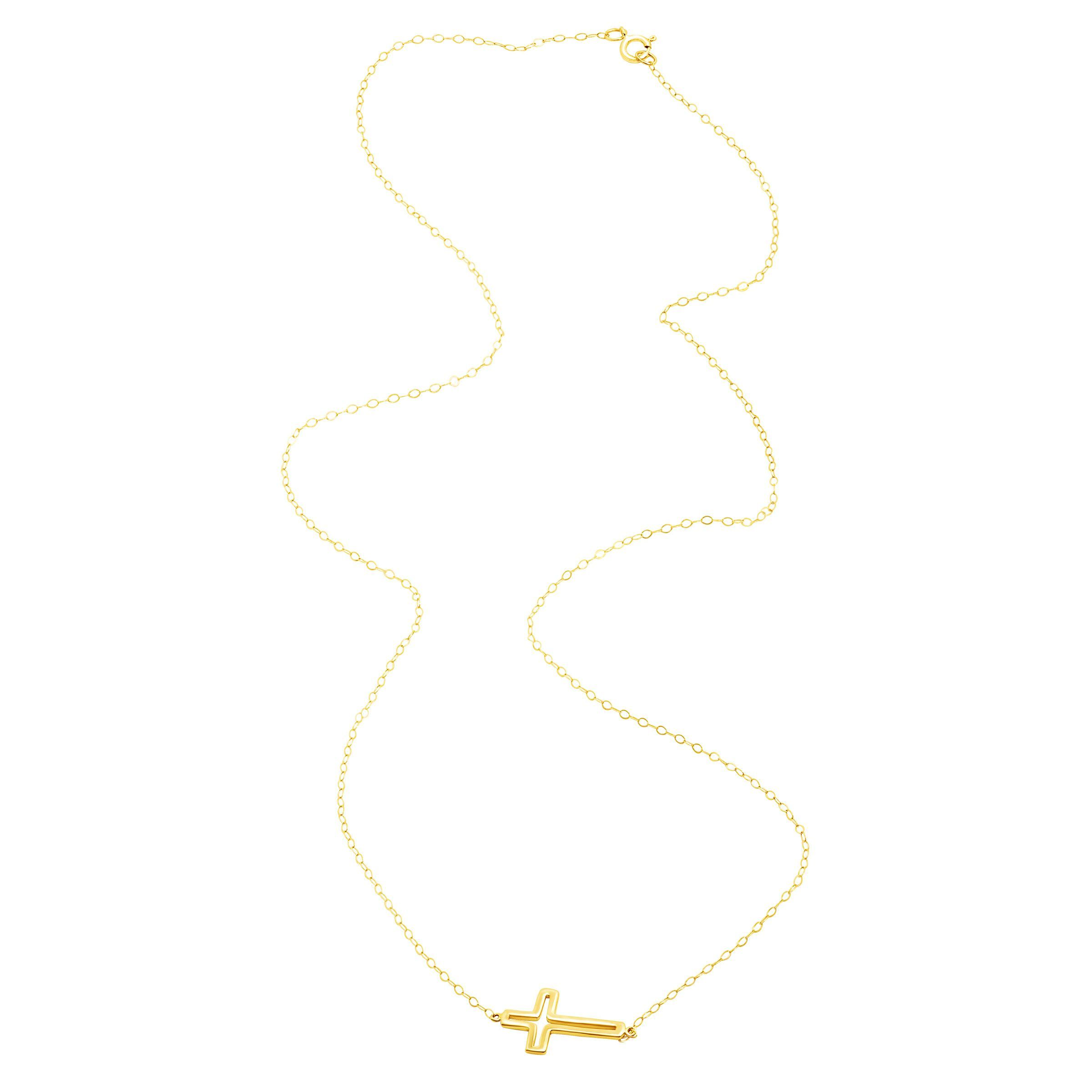 Eternity Gold Silhouette Cross Necklace in 10K Gold