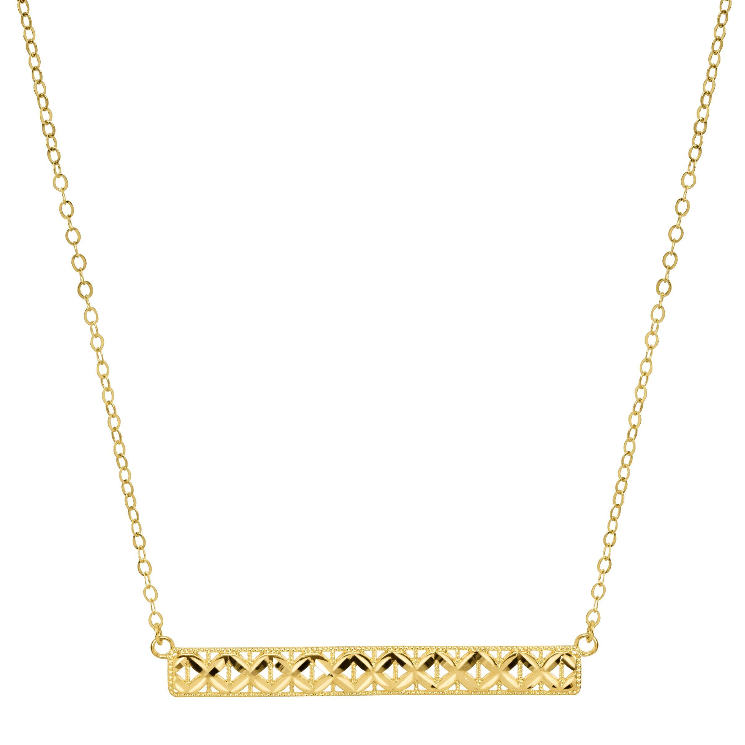 Just gold horizontal textured bar necklace in 10k gold ebay for 10k gold jewelry