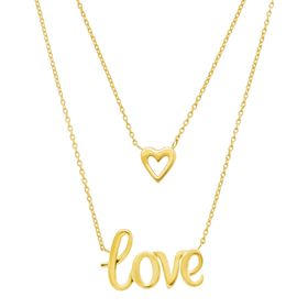 Double Layer 'Love' & Heart Necklace