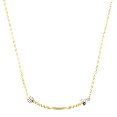 Two-Tone Curved Arrow Necklace