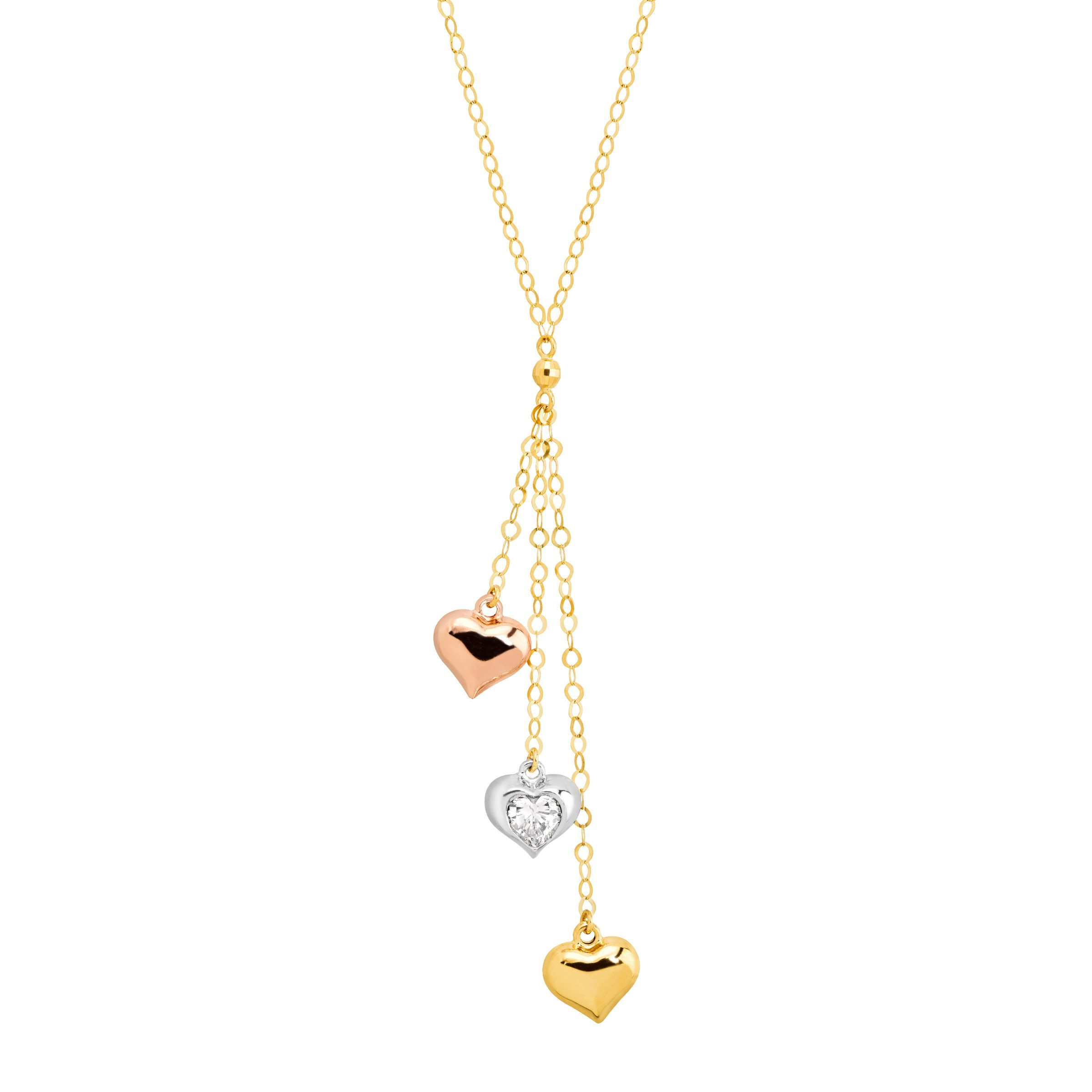 necklace itm cubic lariat heart in zirconia tone triple three gold with