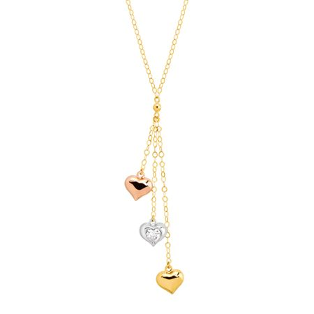 Three-Tone Heart Lariat Necklace with Cubic Zirconia