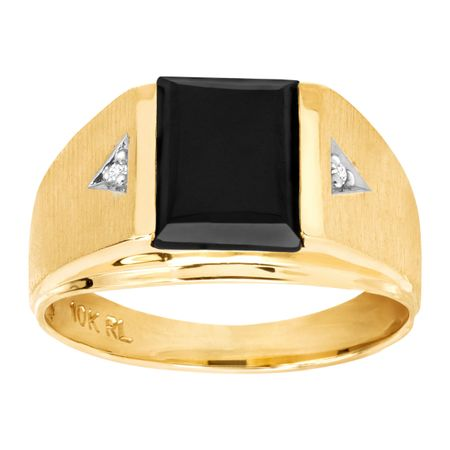 Men's Natural Onyx Signet Ring with Diamonds in 10K Gold