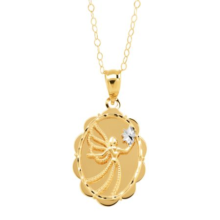 Eternity gold scalloped angel always by your side pendant in 10k scalloped angel always by your side pendant mozeypictures Images