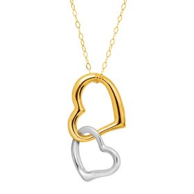 Two-Tone Interlocking Hearts Pendant