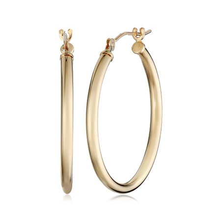 25 mm Polished Hoop Earrings, Yellow