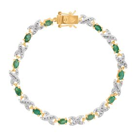 2 3/8 ct Emerald XO Bracelet with Diamond