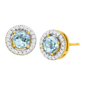 1 1/5 ct Sky Blue & White Topaz Halo Earrings