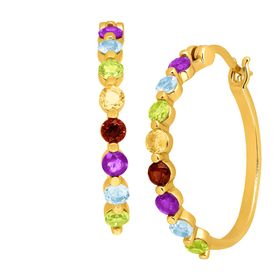 1 3/4 ct Multi-Gem Hoop Earrings
