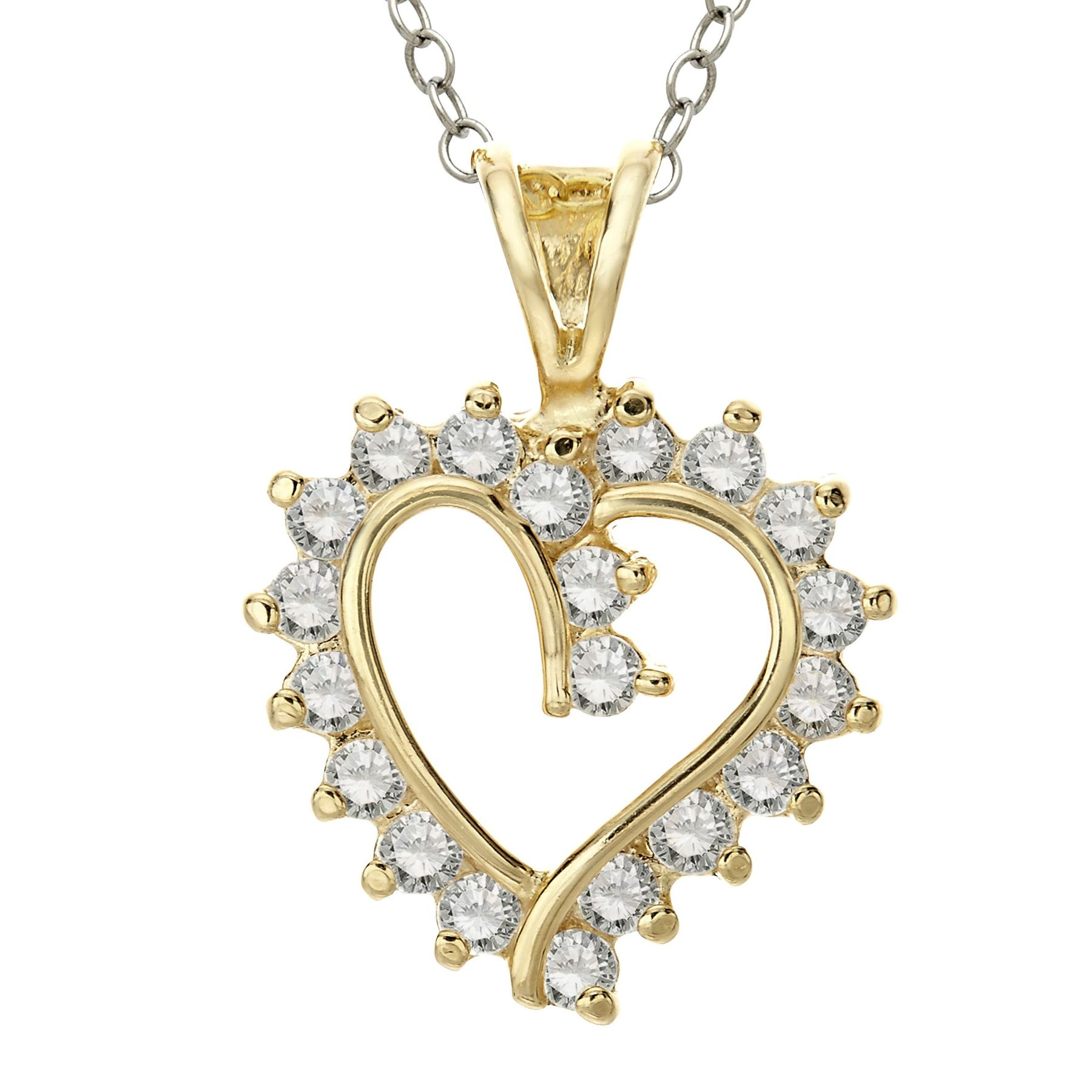 Finecraft Heart Pendant with Cubic Zirconia