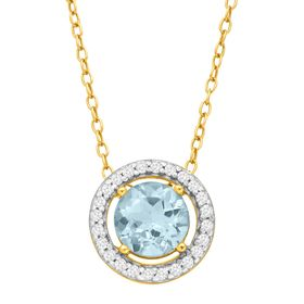 1 1/8 ct Sky Blue & White Topaz Halo Pendant