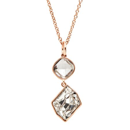 Rose Gold Plated Sterling Silver Pink Quartz Double Heart Pendant Necklace Love Heart Necklace With Crystals o8bXd6