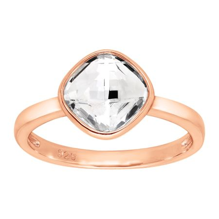 Crystaluxe Solitaire Ring with Swarovski Crystal in 18K Rose Gold ... 43df1652e5