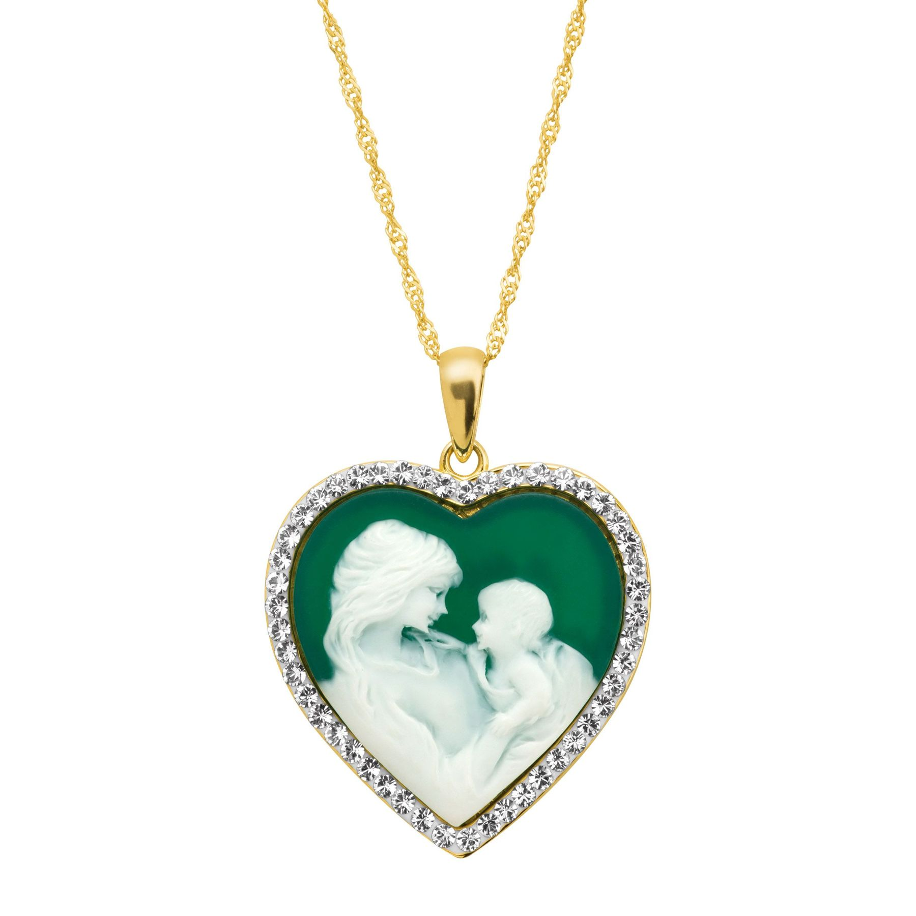 Crystaluxe mother child green inscribed heart cameo pendant with mother child heart cameo pendant with swarovski crystals aloadofball Choice Image